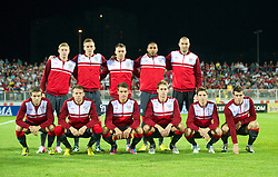 NOVI SAD, SERBIA - Tuesday, September 11, 2012: Wales players line up for a team group photograph before the 2014 FIFA World Cup Brazil Qualifying Group A match against Serbia at the Karadorde Stadium. Back row L-R: Simon Church, Steve Morison, Darcy Blake, Ashley Williams, goalkeeper Boaz Myhill. Front row L-R: Adam Matthews, Chris Gunter, captain Aaron Ramsey, David Edwards, Joe Allen, Gareth Bale. (Pic by David Rawcliffe/Propaganda)