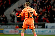 Rotherham United goalkeeper Marek Rodak (13) celebrates the second goal scored by Will Vaulks during the EFL Sky Bet League 1 play off second leg match between Rotherham United and Scunthorpe United at the AESSEAL New York Stadium, Rotherham, England on 16 May 2018. Picture by Nigel Cole.
