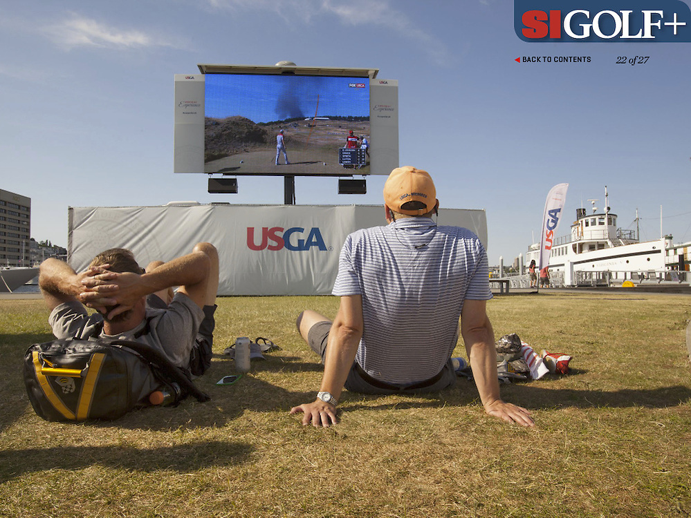 "The US Open created a satellite viewing area in downtown Seattle for visitors to enjoy the Open which was being played about 50 miles away. Photographed for Sports Illustrated's US Open photo essay ""Behind The Open Curtain: Plotting the Course."" 6 of 8"
