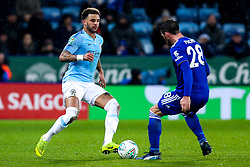 Kyle Walker of Manchester City takes on Christian Fuchs of Leicester City - Mandatory by-line: Robbie Stephenson/JMP - 18/12/2018 - FOOTBALL - King Power Stadium - Leicester, England - Leicester City v Manchester City - Carabao Cup Quarter Finals