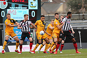 Grimsby Town defender Danny Collins (6) trys to get to the ball during the EFL Sky Bet League 2 match between Grimsby Town FC and Port Vale at Blundell Park, Grimsby, United Kingdom on 10 March 2018. Picture by Mick Atkins.