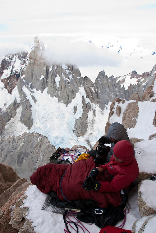 Dana Drummond and Kate Rutherford, trying to warm up with spicy noodle soup for breakfast, while at the first of two bivis on the California Route Fitzroy, Argentina