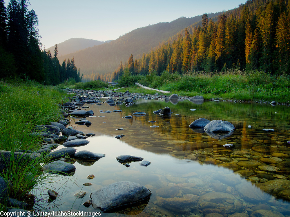 Idaho, North Central, Clearwater national Forest. Early morning light in the upper reaches of the Lochsa River Canyon.