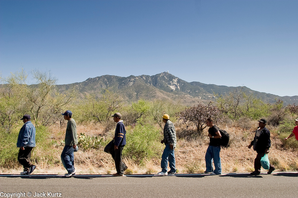 05 MAY 2003 -- SELLS, AZ: Six members of a group of 11 undocumented immigrants from Mexico walk along the edge of AZ Highway 86 after being released by a Tohono O'Odham tribal police officer west of Sells, AZ, the capital of Tohono OOdham Indian Reservation, May 5, 2003. The men were passengers in van stopped for a traffic violation by the tribal police, who found the immigrants hiding inside. The driver of the van was arrested for driving without a license, no insurance and having false license plates. The Tohono OOdham reservation covers a vast expanse of Southern Arizona and has a 70 mile border with Mexico. In recent years the reservation has been flooded with undocumented immigrants who pass through the reservation on their way north to Phoenix, AZ, and other cities in the US. About 1,500 undocumented immigrants, most from Mexico, cross the reservation, which has more land than the state of Delaware,  every day. According to the tribal government, the tribal police department spends about 60 percent of its resources dealing with crime created by the undocumented immigrants. Many times tribal police officers have to wait hours for the US Border Patrol to respond to calls to pick up undocumented immigrants. The officer waited for more than an hour for Border Patrol to arrive on the scene and eventually released the immigrants. Border Patrol arrived minutes later and apprehended all of the immigrants.   PHOTO BY JACK KURTZ