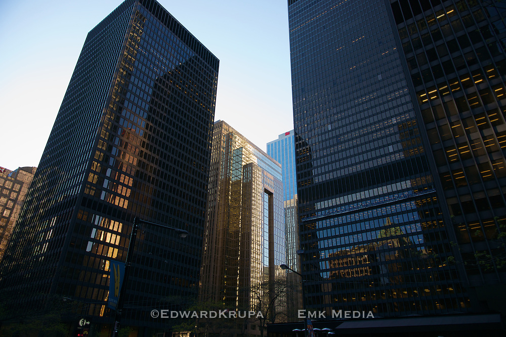Two buildings of the Toronto-Dominion Centre by architect Ludwig Mies van der Rohe, built between 1963-1967, are part of a 6 building cluster and a feature of the finacial district.