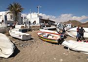 Fishing boats on beach Las Negras, Cabo de Gata natural park, Almeria, Spain
