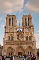 Front facade of Notre dame cathedral, Paris