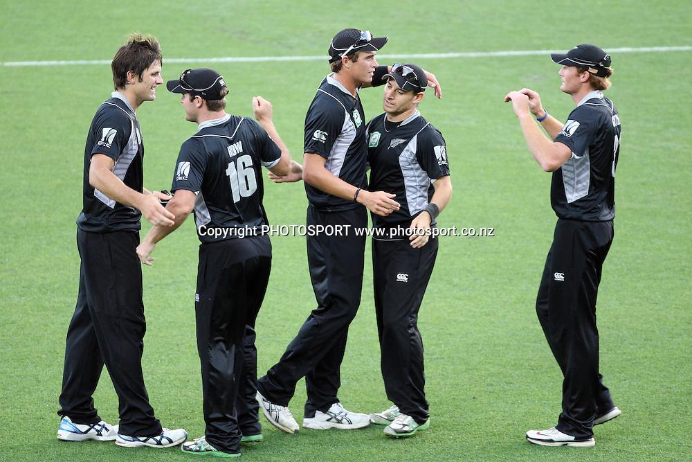 NZ celebrate a wicket during the 6th ODI, Black Caps v Pakistan, One Day International Cricket. Eden Park, Auckland, New Zealand. Saturday 5 February 2011 Photo: Ella Brockelsby/photosport.co.nz