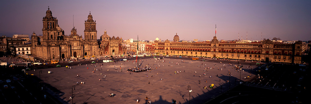 MEXICO, MEXICO CITY, ZOCALO City's main square and heart of the colonial city, the Cathedral c.1520's, left and the National Palace, right