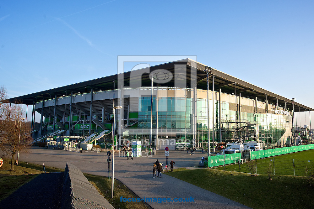 General view of the exterior of the stadium pictured ahead of the UEFA Europa League match at Volkswagen Arena, Wolfsburg<br /> Picture by Ian Wadkins/Focus Images Ltd +44 7877 568959<br /> 19/02/2015