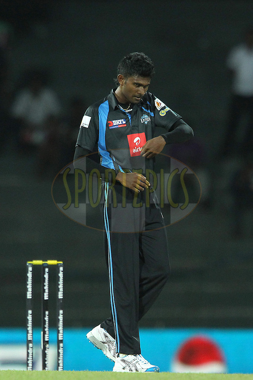 Isuru Udana reacts after bowling during the first Semi Final Match of the Sri Lankan Premier League between Uva Next and Wayamba United held at the Premadasa Stadium in Colombo, Sri Lanka on the 28th August 2012. .Photo by Ron Gaunt/SPORTZPICS/SLPL