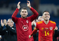 CARDIFF, WALES - Tuesday, November 19, 2019: Wales Sam Vokes celebrates after the final UEFA Euro 2020 Qualifying Group E match between Wales and Hungary at the Cardiff City Stadium where Wales won 2-0 and qualified for Euro 2020. (Pic by Laura Malkin/Propaganda)