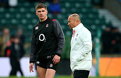 Owen Farrell of England stands with England head coach Eddie Jones - Mandatory by-line: Robbie Stephenson/JMP - 18/11/2017 - RUGBY - Twickenham Stadium - London, England - England v Australia - Old Mutual Wealth Series