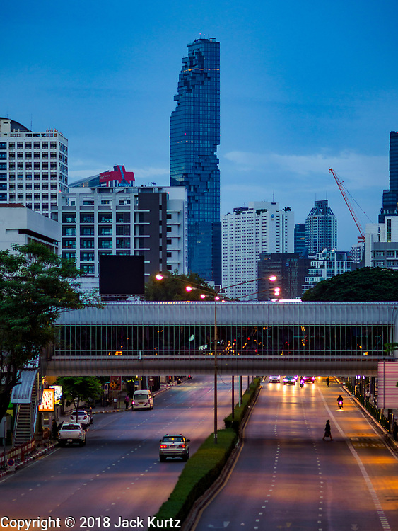 26 JULY 2018 - BANGKOK, THAILAND:  At 1,029 feet tall, the MahaNakhon is the tallest building in Thailand. The 77-story tower beats the skyscraper that previously held the title, Baiyoke Tower II, by 33 feet. It opened in August 2016.     PHOTO BY JACK KURTZ