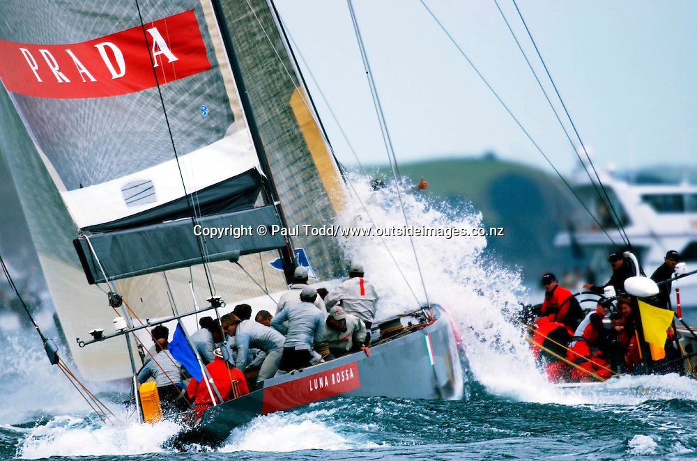 Louis Vuitton Cup round robin 1: 01-14 October 2002<br /> Prada V Oracle BMW<br /> Oracle BMW wins by 42 seconds over Prada<br />Please Credit: Paul Todd/ Photosport