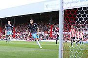 Sheffield Wednesday Forward Atdhe Nuhiu celebrates his goal from the penalty spot during the Sky Bet Championship match between Brentford and Sheffield Wednesday at Griffin Park, London, England on 26 September 2015. Photo by Phil Duncan.