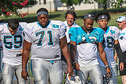 Carolina Panthers linebacker Luke Kuechly (59) defensive tackle Bijhon Jackson (71) wide receiver Terry Godwin (17) and cornerback Javien Elliott (38) exiting the field after day two during training camp at Wofford College, Saturday, July 27, 2019, in Spartanburg, S.C. (Brian Villanueva/Image of Sport)