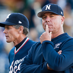 Reno Aces manager Brett Butler and Nevada Wolf Pack head coach Gary Powers during an exhibition game at Aces Ballpark in downtown Reno, Nev. Tuesday night, April 6, 2010...Photo by David Calvert/Reno Aces