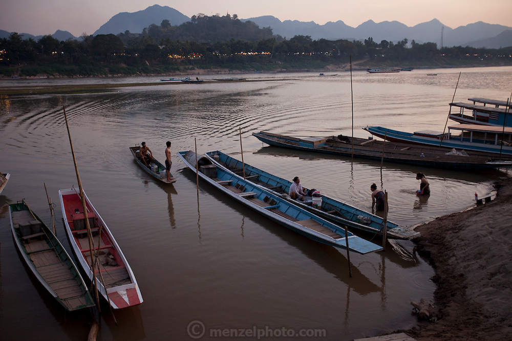 Mekong River at sunset in Luang Prabang, Laos. From Chomphet District across the river.