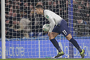 GOAL 2-1, Tottenham Hotspur midfielder Erik Lamela (11) retrieves the ball from the net after Tottenham Hotspur forward Fernando Llorente (18) scores, during the EFL Cup semi final second leg match between Chelsea and Tottenham Hotspur at Stamford Bridge, London, England on 24 January 2019.