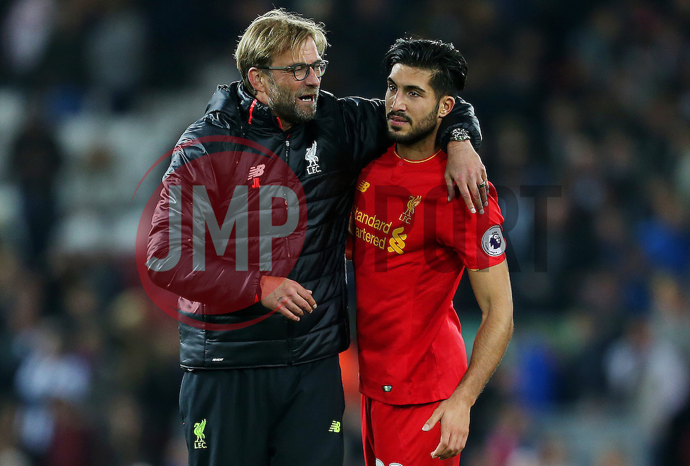 Liverpool manager Jurgen Klopp celebrates with Emre Can - Mandatory by-line: Matt McNulty/JMP - 22/10/2016 - FOOTBALL - Anfield - Liverpool, England - Liverpool v West Bromwich Albion - Premier League