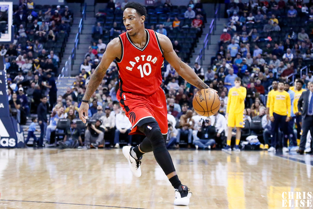 18 November 2016: Toronto Raptors guard DeMar DeRozan (10) dribbles during the Toronto Raptors 113-111 OT victory over the Denver Nuggets, at the Pepsi Center, Denver, Colorado, USA.