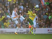 Hull City's Markus Henriksen and Norwich City's James Maddison during the EFL Sky Bet Championship match between Norwich City and Hull City at Carrow Road, Norwich, England on 14 October 2017. Photo by John Marsh.