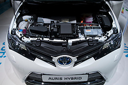 Detail of engine in   new toyota Auris hybrid compact car at Paris Motor Show 2012