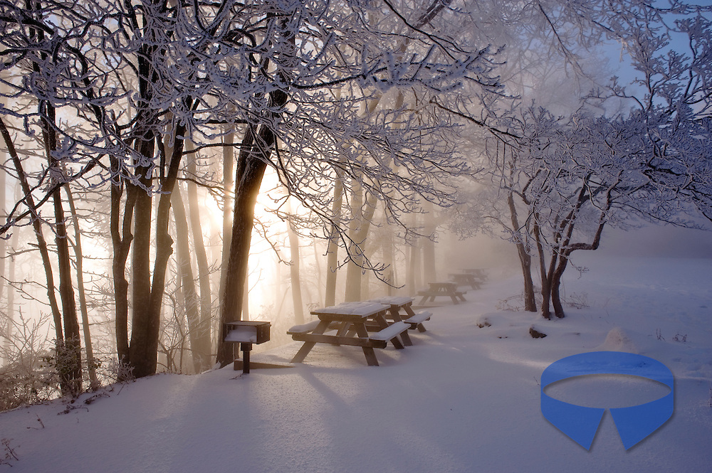 Fog, snow, clouds and sunny skies mix following a heavy snowfall at Caesars Head State Park which is part of the Mountain Bridge Wilderness area located near Cleveland, South Carolina..