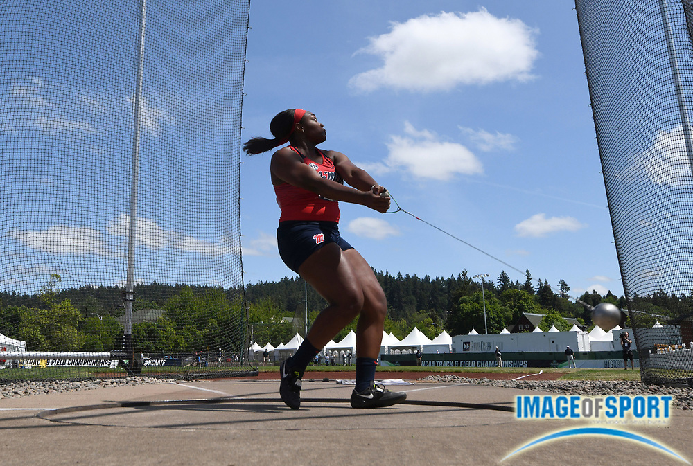 Jun 7, 2018; Eugene, OR, USA; Janeah Stewart of Mississippi wins the women's hammer with a throw of 239-3 (72.92m) during the NCAA Track and Field championships at Hayward Field.