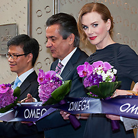 HONG KONG - MAY 20:  Actress Nicole Kidman attends the launch of the new Omega Boutique alongside Stephen Urquhart, President of Omega, Kevin Rollenhagen, President of The Swatch Group HK Ltd and Jimmy Mak, Vice President of Omega Hong Kong and Taiwan, on May 20, 2010 in Hong Kong.  Kidman and her husband Keith Urban will raise funds for UNIFEM through watch auction and a private concert.  Photo by Victor Fraile / studioEAST ; Stephen Urquhart; Kevin Rollenhagen; Jimmy Mak