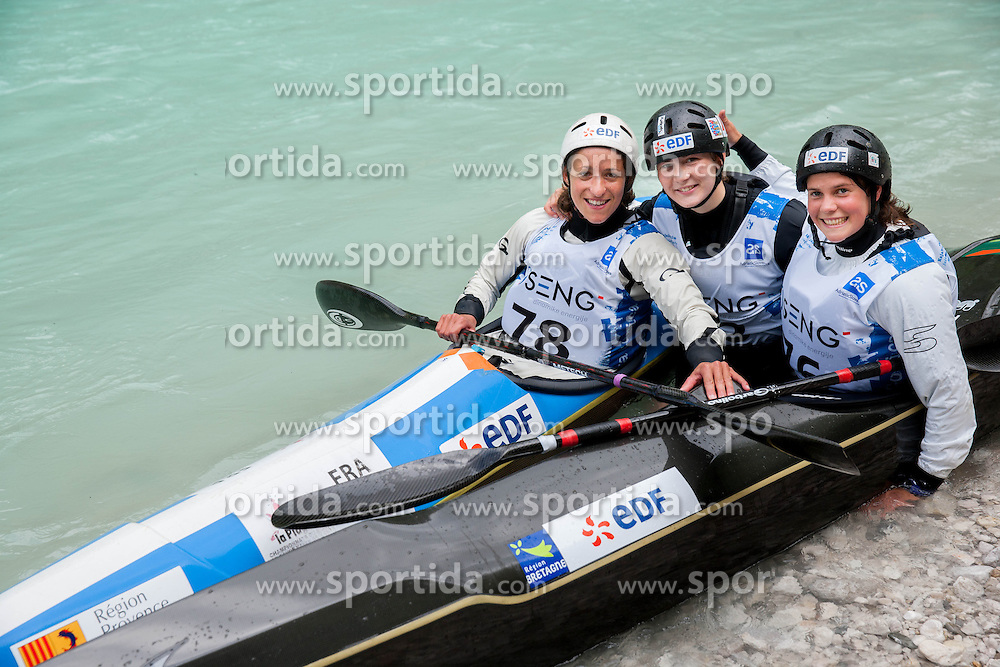 First three in K1 women: Sixtine Malaterre, Manon Hostens and Charlene le Corvaisier (all France) at final sprint race of European wildwater Canoeing Championships Soca 2013 on May 12, 2013 in Trnovo ob Soci, Soca river, Slovenia. (Photo By Vid Ponikvar / Sportida)