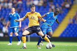 BIRMINGHAM, ENGLAND - Saturday, July 30, 2011: Everton's Ross Barkley in action against Birmingham City's Morgard Gomis during a preseason friendly match at St Andrews. (Photo by David Rawcliffe/Propaganda)