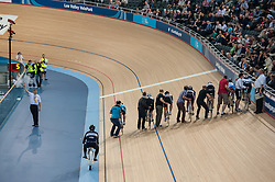 A heat of the Keirin is started at The Good Friday Meeting, Lee Valley Velodrome, London, UK on 18 April 2014. Photo: Simon Parker
