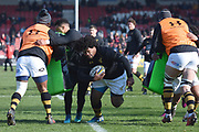 Wasps players warm up during the Aviva Premiership match between Gloucester Rugby and Wasps at the Kingsholm Stadium, Gloucester, United Kingdom on 24 February 2018. Picture by Alan Franklin.
