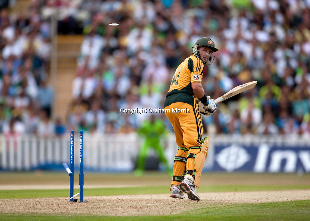 Michael Hussey is bowled by Umar Gul during the first International T20 match between Australia and Pakistan at Edgbaston, Birmingham.  Photo: Graham Morris (Tel: +44(0)20 8969 4192 Email: sales@cricketpix.com) 05/07/10
