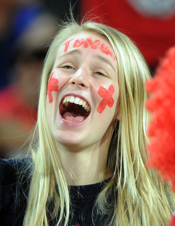 A happy Tongan supporter after their win over France in the Rugby World Cup pool match at Wellington Stadium, Wellington, New Zealand, Saturday, October 01, 2011. Credit:SNPA / Ross Setford