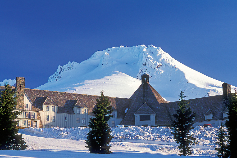 Timberline Lodge and Mount Hood; Mount Hood National Forest, Cascade Mountains, Oregon.