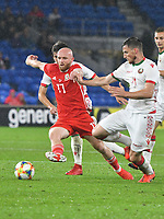 Football - 2019 / 2020 International Friendly - Wales vs. Belarus<br /> <br /> Jonathan Williams of Wales tackled by1Nikita Naumov of Belarus, at Cardiff City Stadium.<br /> <br /> COLORSPORT/WINSTON BYNORTH