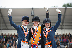 Podium YR, Nekeman Denise, Nekeman Jeanine, Bos Rosalie, (NED)<br /> Young Rider Kür Final<br /> Dutch Championship Dressage - Ermelo 2015<br /> © Hippo Foto - Dirk Caremans<br /> 19/07/15