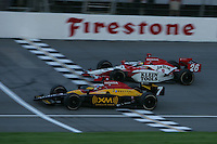 Bryan Herta beats Dan Wheldon to the finish at the Michigan International Speedway, Firestone Indy 400, July 31, 2005