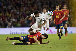 October 15, 2018 - Seville, Spain - MARCUS RASHFORD of England (R ) receives a foul from  NACHO of Spain during the UEFA Nations League Group A4 soccer match between Spain and England at the Benito Villamarin Stadium (Credit Image: © Daniel Gonzalez Acuna/ZUMA Wire)