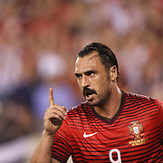 Hugo Almeida, Portugal, celebrates his second goal during the Portugal V Ireland International Friendly match in preparation for the 2014 FIFA World Cup in Brazil. MetLife Stadium, Rutherford, New Jersey, USA. 10th June 2014. Photo Tim Clayton