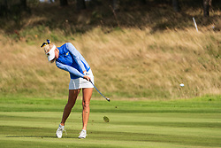 Gleneagles, Scotland, UK; 9 August, 2018.  Day two of European Championships 2018 competition at Gleneagles. Men's and Women's Team Championships Round Robin Group Stage - 2nd Round. Four Ball Match Play format. Julia Engstrom of Sweden plays approach
