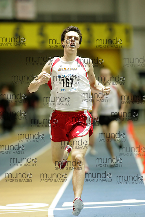 (Windsor, Ontario---13 March 2010) Kyle Boorsma of Guelph competes in the 1500m final at the 2010 Canadian Interuniversity Sport Track and Field Championships at the St. Denis Center. Photograph copyright Sean Burges/Mundo Sport Images. www.mundosportimages.com