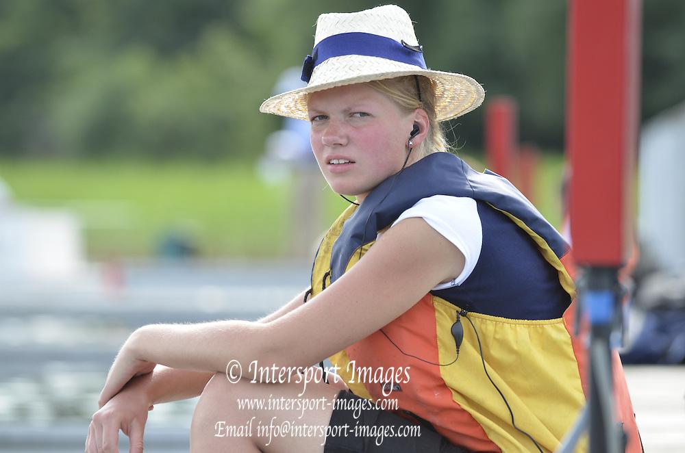 Trackai. LITHUANIA. ..Boat Holder at the start  2012 FISA U23 World Rowing Championships.  Lake Galve. ..17:09:26  Wednesday  11/07/2012 [Mandatory Credit: Peter Spurrier/Intersport Images]..Rowing. 2012. U23.