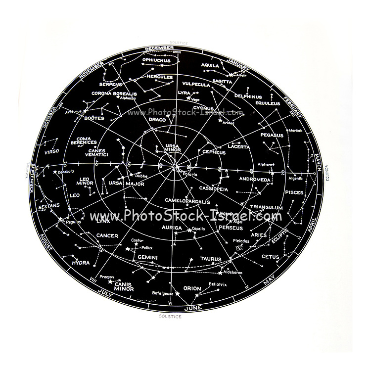 Northern Hemisphere stars and constellation sky map
