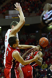 04 February 2012:  Walt Lemon Jr. takes the ball off the head and also gets sacked by his own teammate Jake Eastman as Jon Ekey holds up during an NCAA Missouri Valley Conference mens basketball game where the Bradley Braves lost to the Illinois State Redbirds 78 - 48 in Redbird Arena, Normal IL