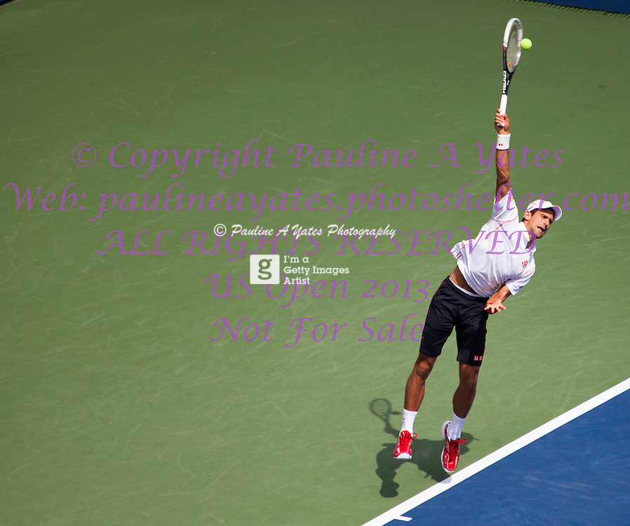 Novak Djokovic in the US Open on Friday 30th August 2013