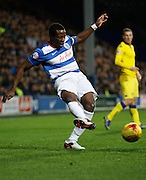 QPR Defender Nedum Onuoha (captain) gets a ball crossed in to the box during the Sky Bet Championship match between Queens Park Rangers and Leeds United at the Loftus Road Stadium, London, England on 28 November 2015. Photo by Andy Walter